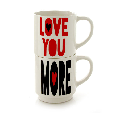 Love You More Stacking Mugset