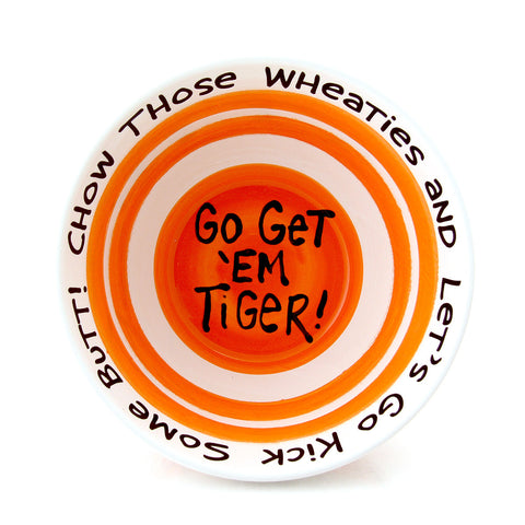 Motivational Cereal Bowl - Striped Orange - MADE IN THE USA