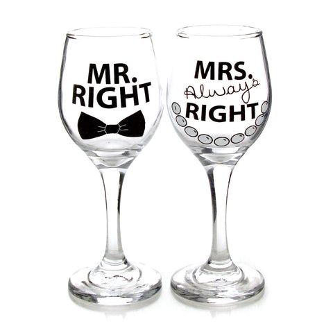 Mr Mrs Right Glassware Set