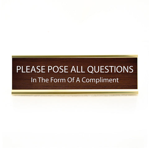 Funny Questions Desk Plaque