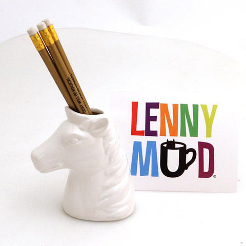 Unicorn Pencil Holder with Gold Metallic Pencils