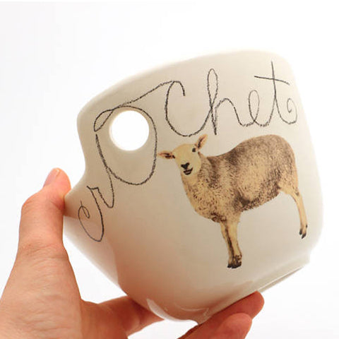 White Sheep Crochet Bowl