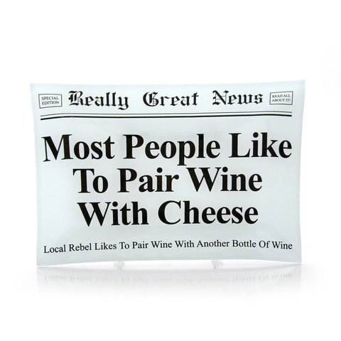 Wine With Cheese Glass Plate