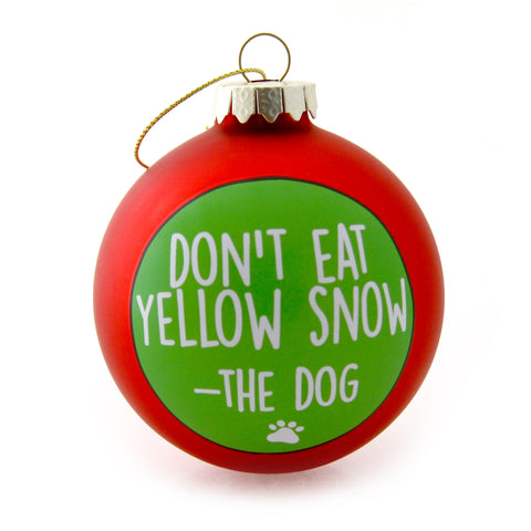 Yellow Snow Dog Christmas Ornament