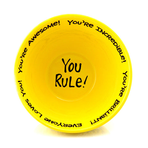 You Rule Complimentary Cereal Bowl Yellow MADE IN USA