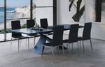 Artiste Extension Dining Table - Matte Blue/Black