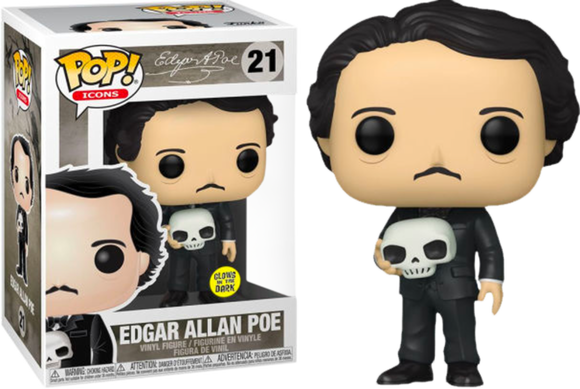 Prolectables - Icons - Edgar Allen Poe with Skull Glow Pop! Vinyl
