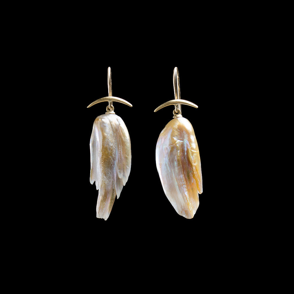 18K Freshwater Pearl Wing Earrings