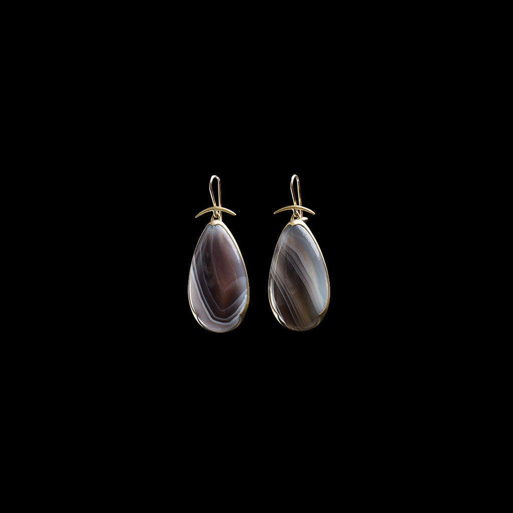 18K Pear Banded Agate Earrings
