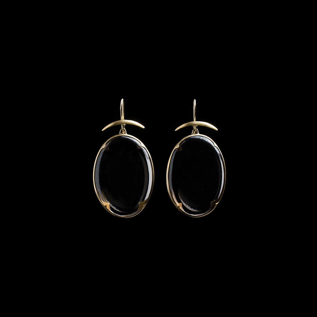 18K Smoky Topaz Lens Earrings