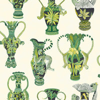 Cole & Son - The Ardmore Collection - Khulu Vases 109/12056 Green + White