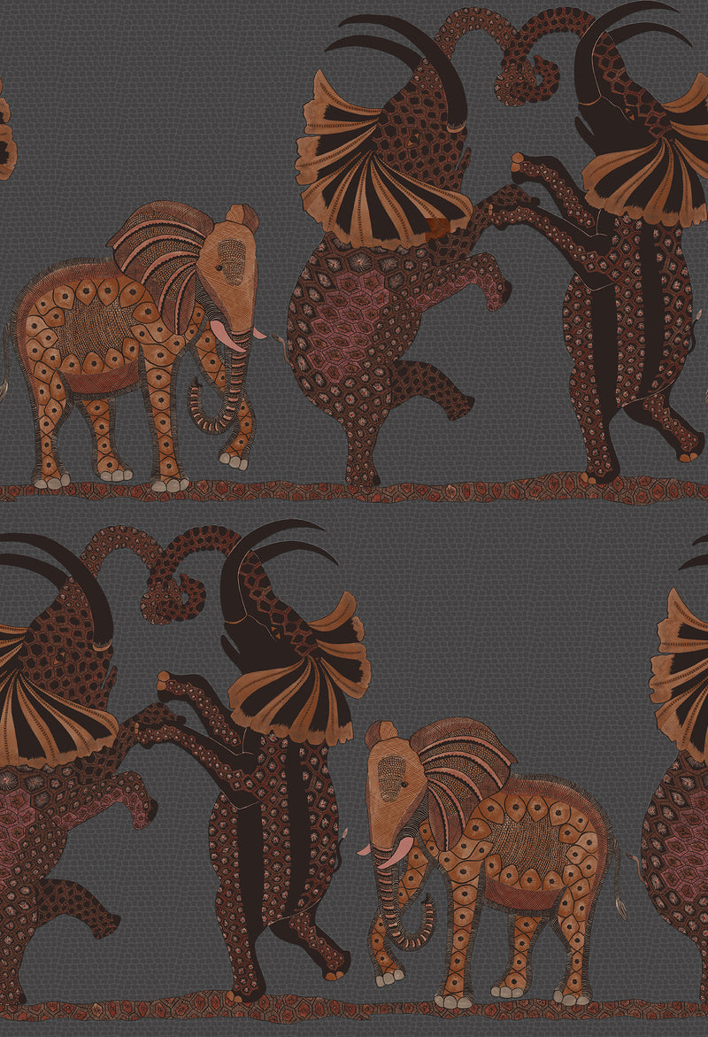 Cole & Son - The Ardmore Collection - Safari Dance 109/8040 Charcoal + reds