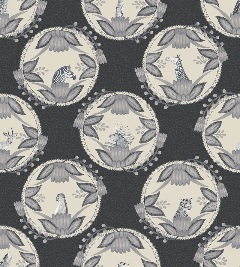 Cole & Son - The Ardmore Collection - Ardmore Cameos 109/9043	Black + White