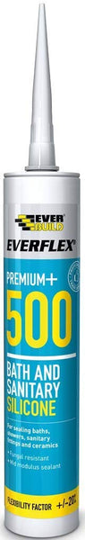 Everflex 500 Bath & Sanitary Silicone - Anti-fungal silicone sealant - 295ml - Ivory