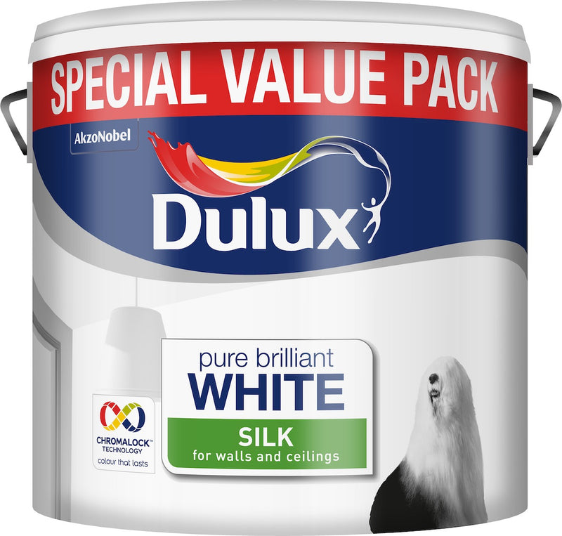 Dulux Silk Pure Brilliant White 6L Special Value Pack