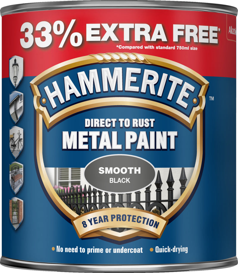Hammerite Direct To Rust Metal Paint Smooth Finish 33% Extra Free 1L - Black/Silver