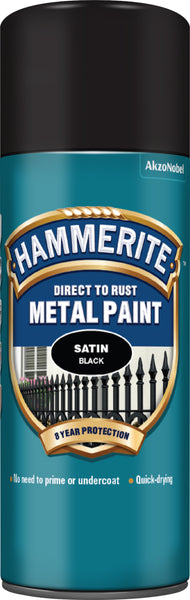 Hammerite Metal Paint: Satin Black 400ml (Aerosol)