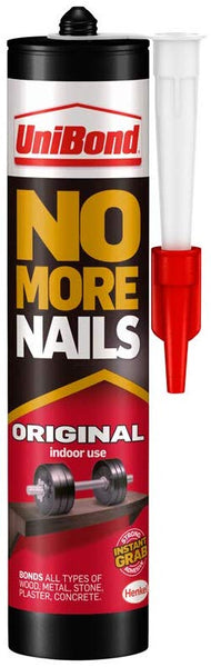 niBond No More Nails Original, Heavy-Duty Mounting Adhesive, Strong Glue for Wood, Ceramic, Metal & More, White Instant Grab Adhesive, 1 x 365g Cartridge
