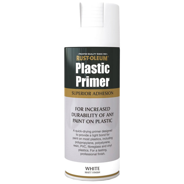 Rustoleum 400ml Plastic Primer Spray Paint - White 400ml