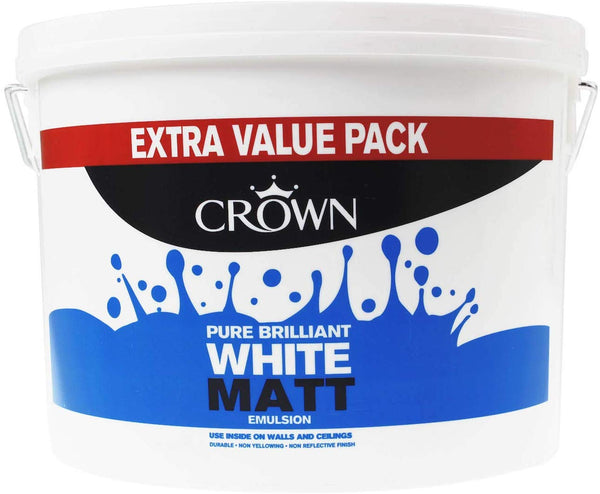 Crown Matt Emulsion Paint 7.5L Pure Brilliant White & Magnolia