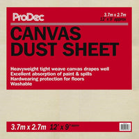 ProDec Canvas Dust Sheet 12' x 9' Foot / 3.6m x 2.7m Heavyweight Cover