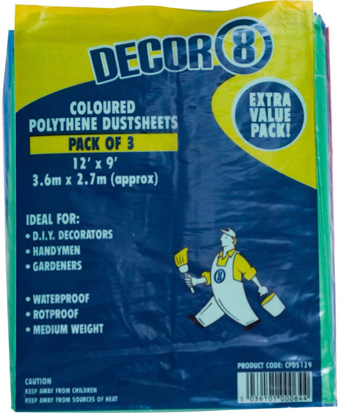 Tristar Dust Sheets & Dust Covers (12ft x 9ft) PACK OF 3