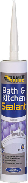 Everbuild Bath & Kitchen Sealant - Acrylic Sealant for Sealing in and Around The Kitchen and Bathroom, 300 ml, White