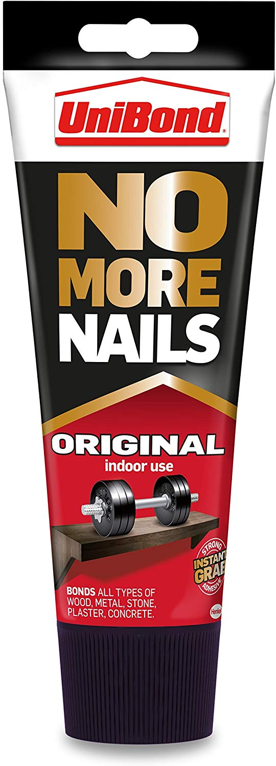 UniBond No More Nails Original, Heavy-Duty Mounting Adhesive, Strong Glue for Wood, Ceramic, Metal & More, White instant Grab Adhesive 200ml