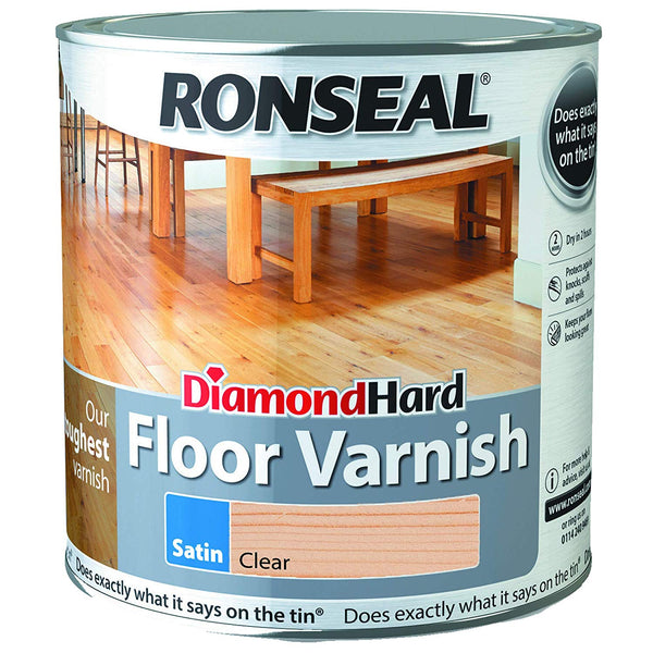 Ronseal Diamond Hard Floor Varnish Clear Satin(All Sizes)