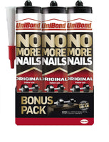 UniBond No More Nails Original, Heavy-Duty Mounting Adhesive, Strong Glue for Wood, Ceramic, Metal etc., White Instant Grab Adhesive, Pack of 3