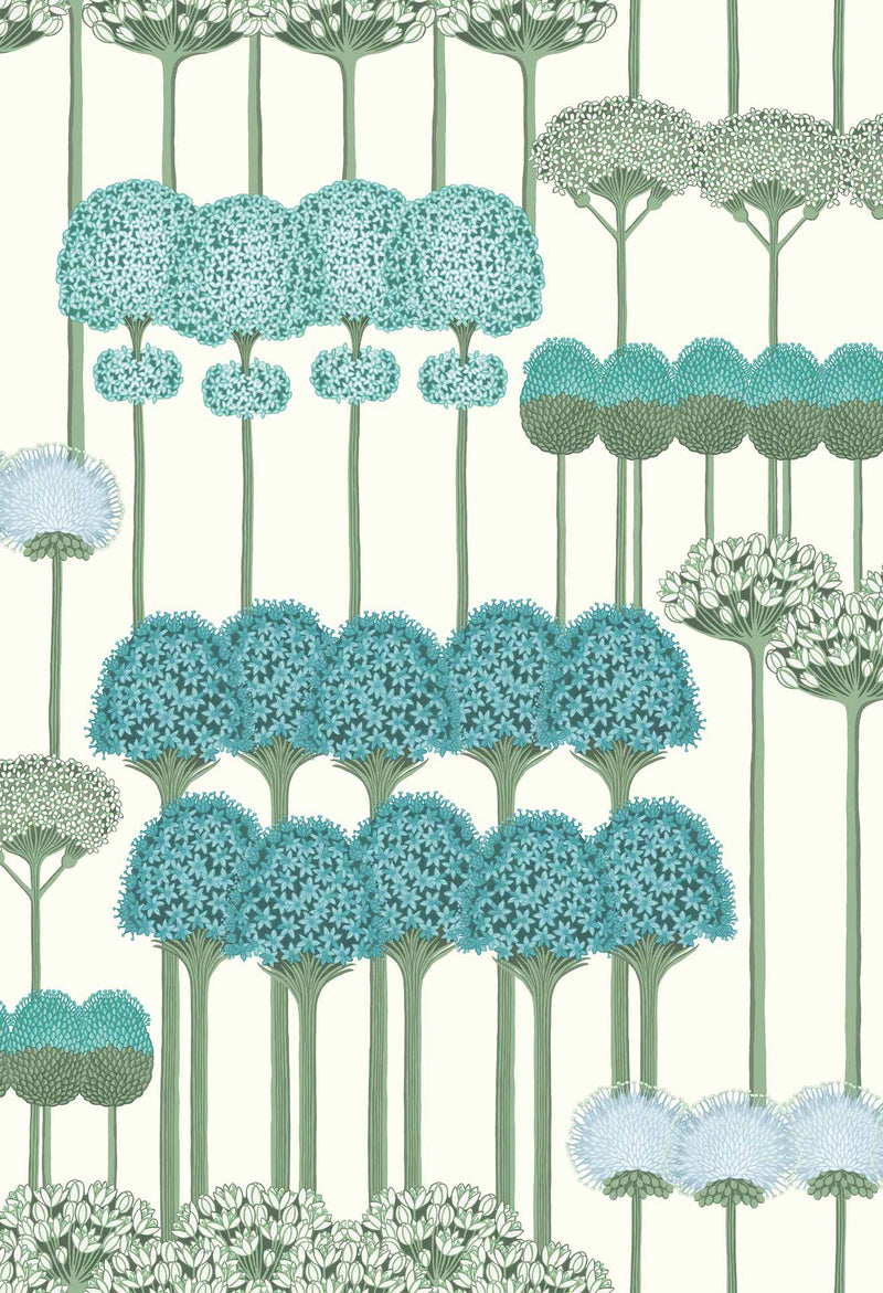 Cole & Son - Botanical - Allium 115/12035 Teal & Jade on White