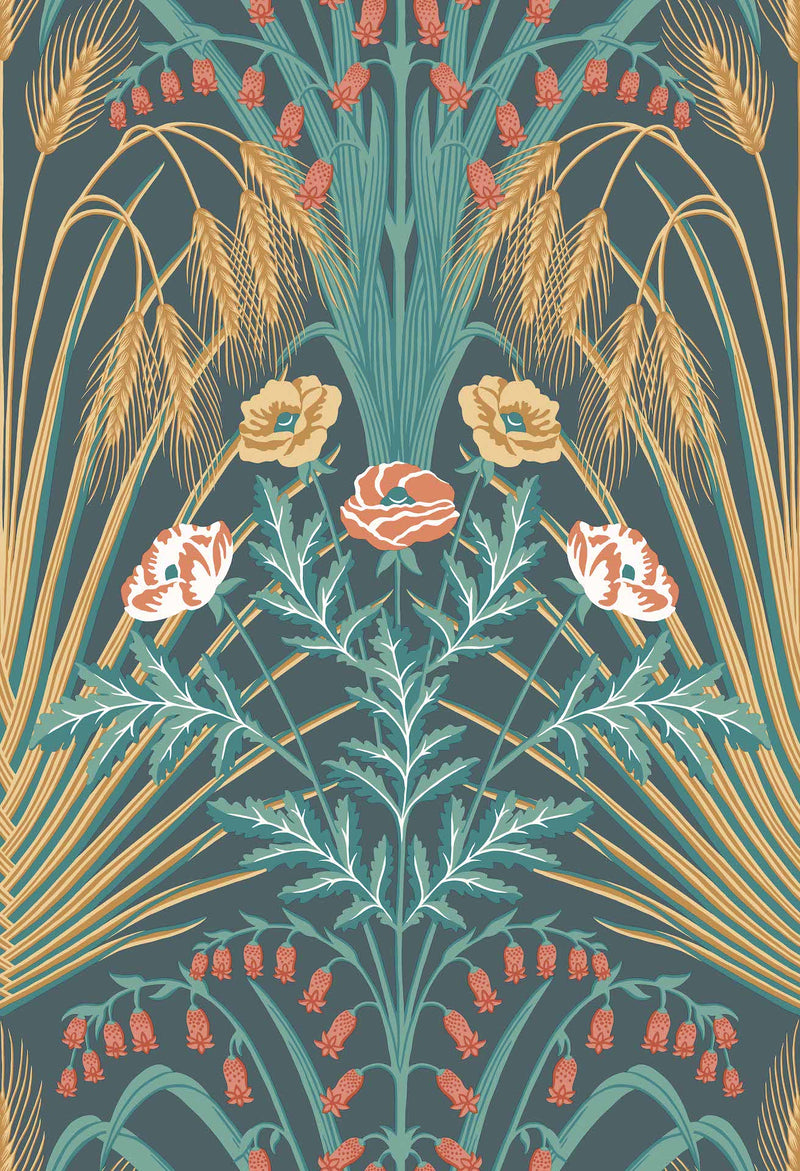 Cole & Son - Botanical - Bluebell 115/3010 Teal,  Gold & Coral on Petrol