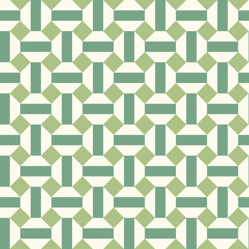 Cole & Son - Seville Collection - Alicatado 117/12038 Leaf Greens on Chalk