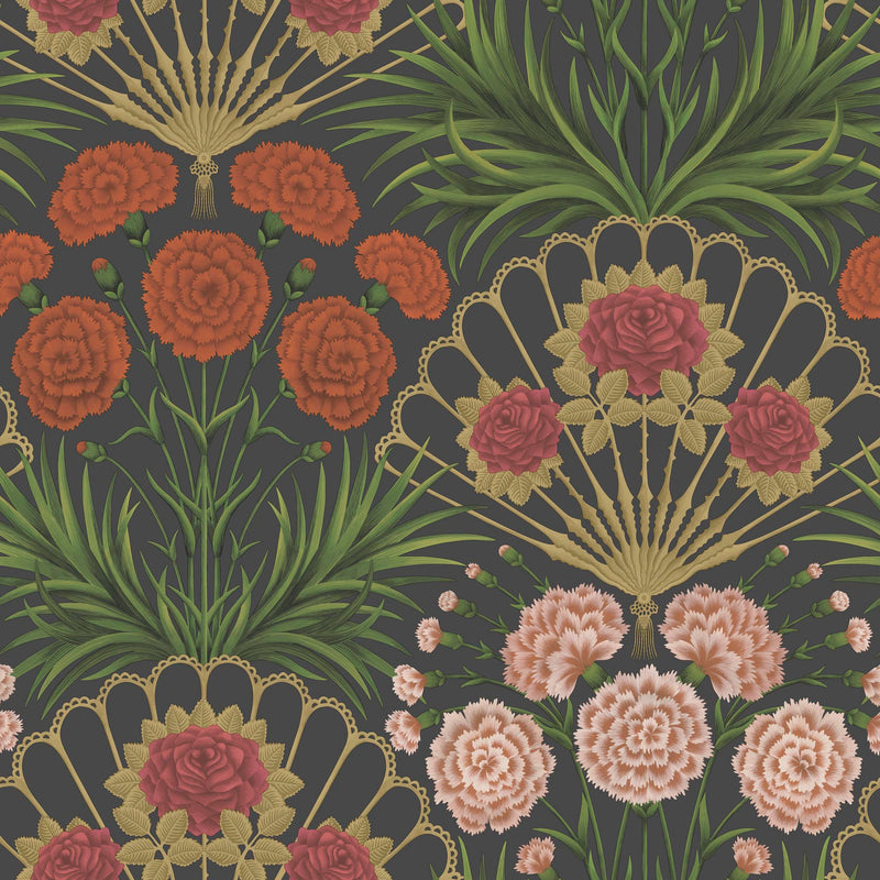 Cole & Son - Seville Collection - Flamenco Fan 117/14043 Cerise, Dark Tangerine & Metallic Gold on Black