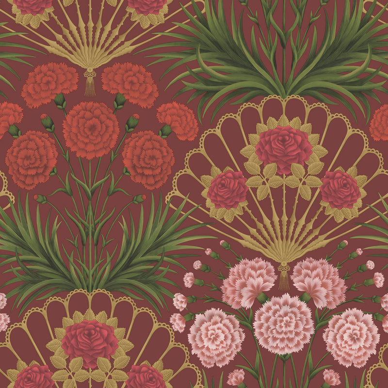 Cole & Son - Seville Collection - Flamenco Fan 117/14046 Rose, Bright Rouge & Metallic Gold on Crimson