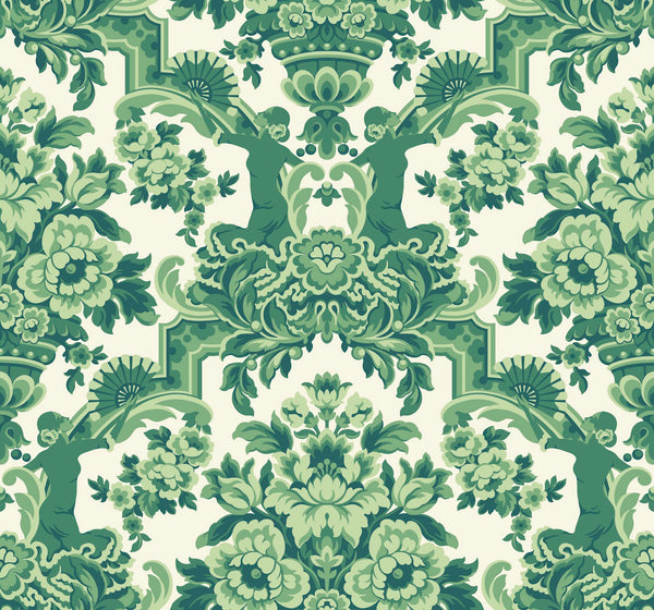 Lola 117/13040 Forest Greens on White