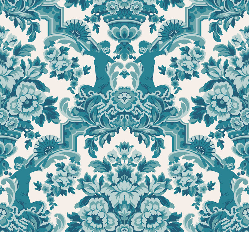 Cole & Son - Seville Collection - Lola 117/13042 Petrol Blues on White