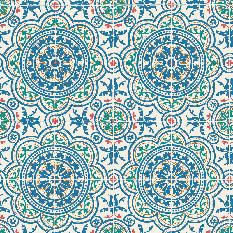 Cole & Son - Seville Collection - Piccadilly 117/8024 Denim & Rouge on Chalk