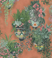 Cole & Son - Seville Collection - Talavera 117/9025	Rose & Spring Greens on Terracotta