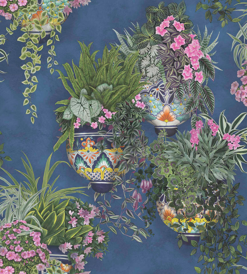 Cole & Son - Seville Collection - Talavera 117/9026	Fuchsia & Forest Greens on Cerulean Sky