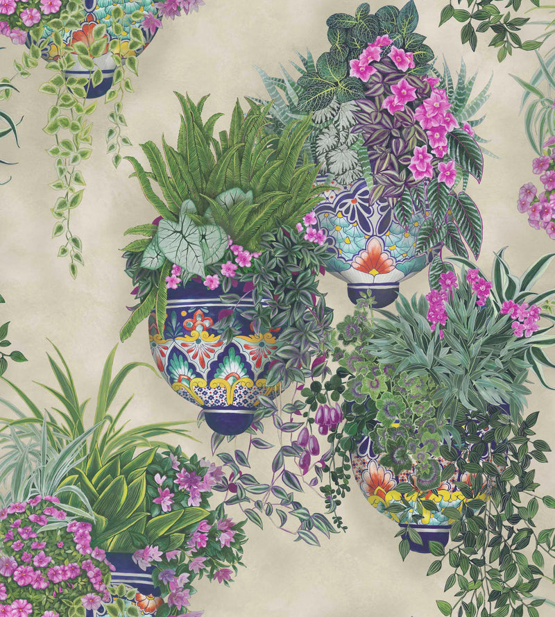 Cole & Son - Seville Collection - Talavera 117/9027	Magenta & Spring Greens on Stone