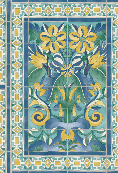 Cole & Son - Seville Collection - Triana 117/5013 Canary Yellow & China Blue on Teal
