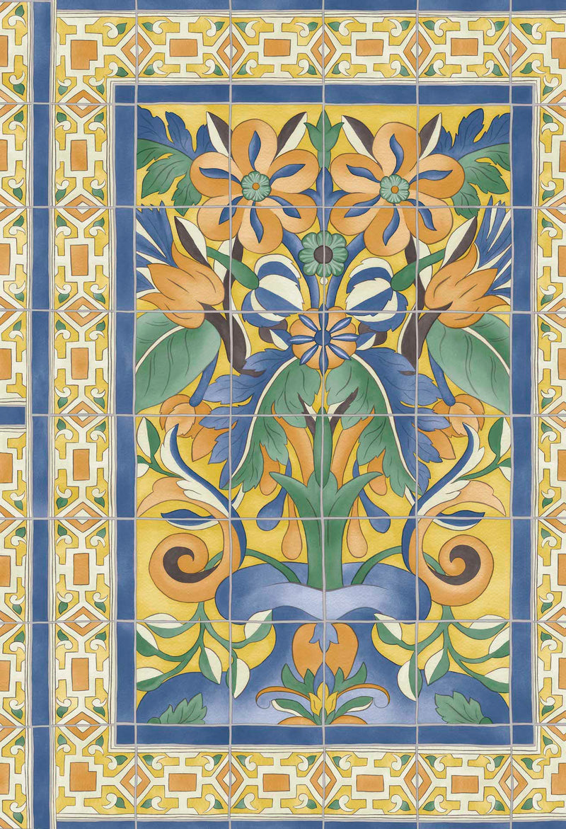Cole & Son - Seville Collection - Triana 117/5015 Marigold & Hyacinth on Canary Yellow