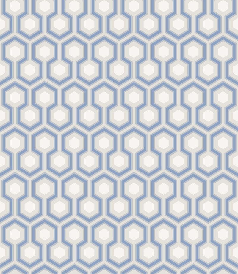 Cole & Son - The Contemporary Collection - Hicks' Hexagon 66/8054 Hyacinth & White on Cool Parchment
