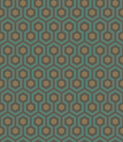 Cole & Son - The Contemporary Collection - Hicks' Hexagon 95/3018 Teal & Bronze on Soot