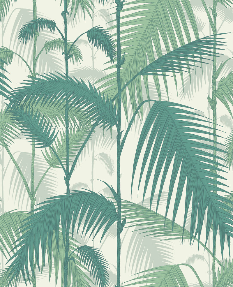 Cole & Son - The Contemporary Collection - Palm Jungle 95/1002 Teal & Viridian on Chalk
