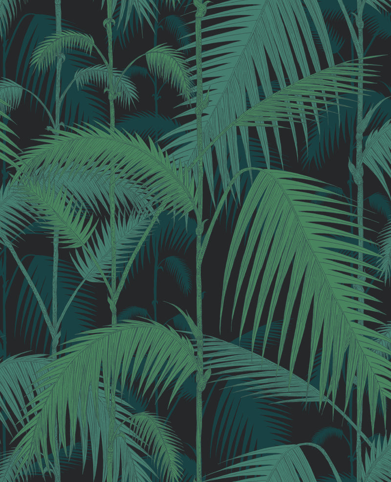 Cole & Son - The Contemporary Collection - Palm Jungle 95/1003 Viridian on Charcoal