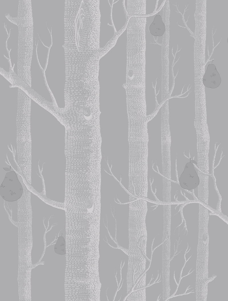 Cole & Son - The Contemporary Collection - Woods & Pears 95/5029 White & Silver on Grey