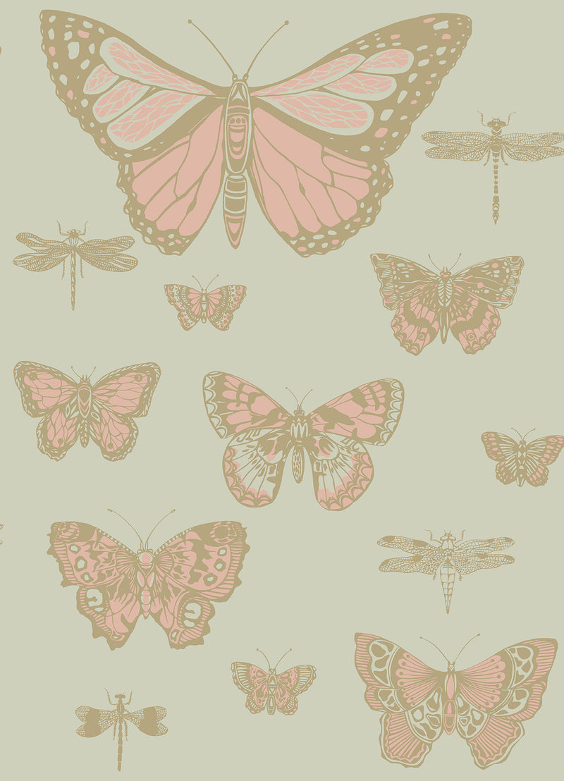 Cole & Son - Whimsical - Butterflies & Dragonflies 103/15063 pink on olive