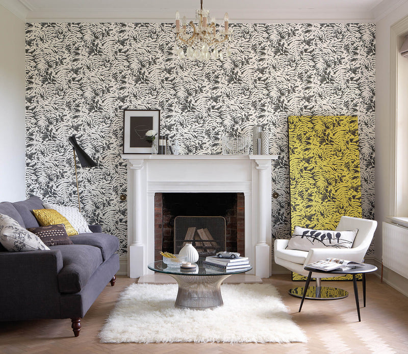 Little Greene - 20th Century Papers - Fern  -  Off Black